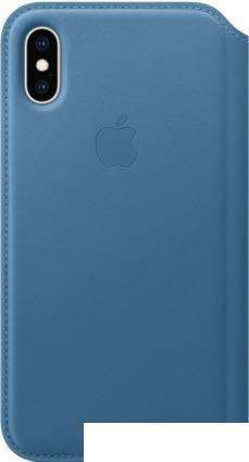 Чехол Apple Leather Folio для iPhone XS Cape Cod Blue
