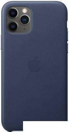 Чехол Apple Leather Case для iPhone 11 Pro (темно-синий)